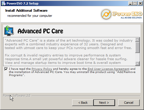 PowerISO attempt to install spyware 2